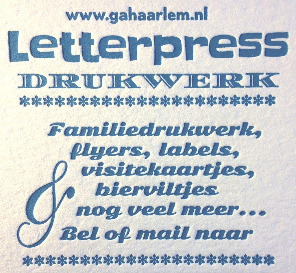 Letterpress, Grafisch Atelier Haarlem